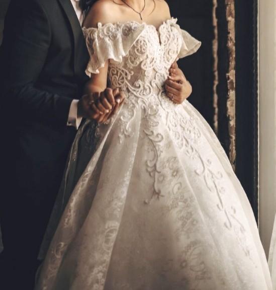 لباس عروس پر پف کار شده سایز 38 تا 42